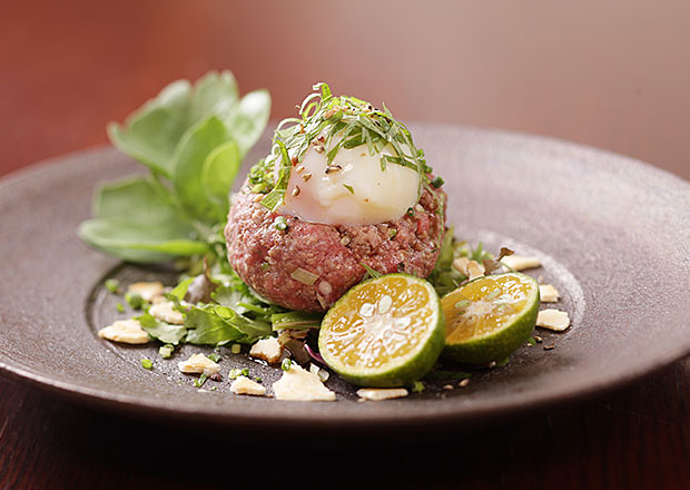 Ishigaki beef steak tartare with salad